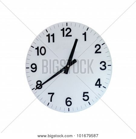 Round Office Clock On White Isolate Background With Clipping Paht.