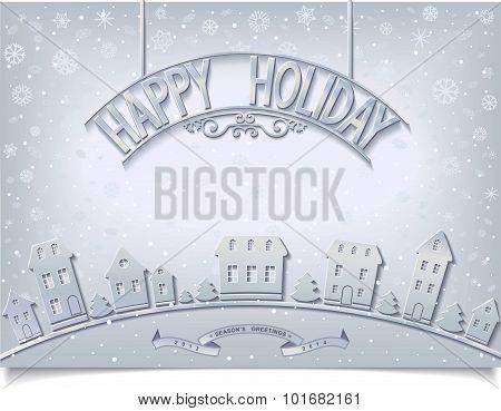 Wintery Happy Holiday card