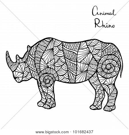 Stylized Vector Rhino, Zentangle Isolated On White Background.