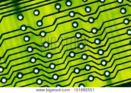 Green Circuit Board Close Up.