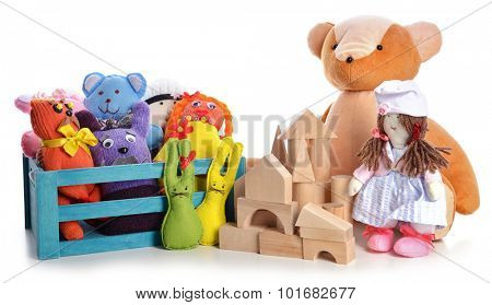 Pile of toys isolated on white