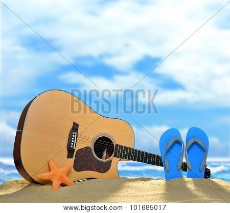 Acoustic guitar on the beach