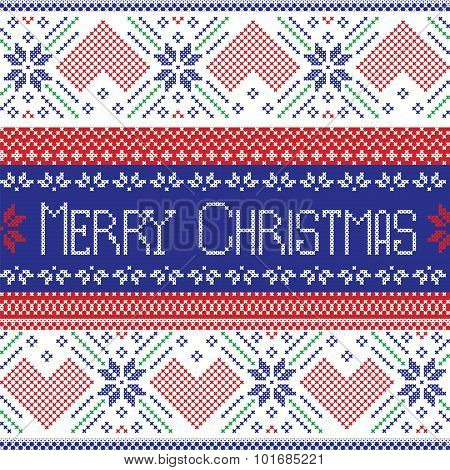 Dark blue, red and green Scandinavian Merry Christmas seamless  pattern in Nordic style cross stitch