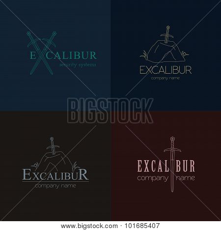 Excalibur outline Insignias and Logotypes set. Vector design elements