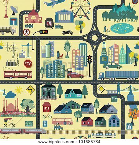 City map seamless pattern