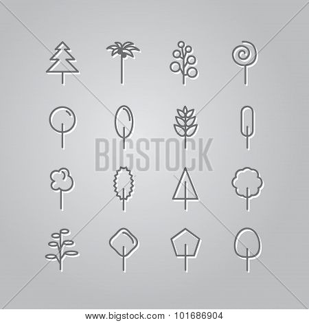 Set of line icons. Trees: palm tree, fir-tree, oak, pine. Vector