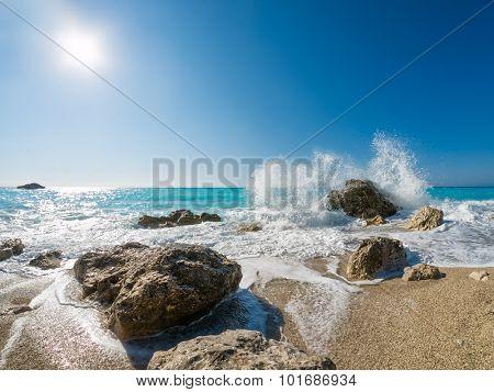 Kathisma Beach, Lefkada Island in Ionian Sea, Greece.