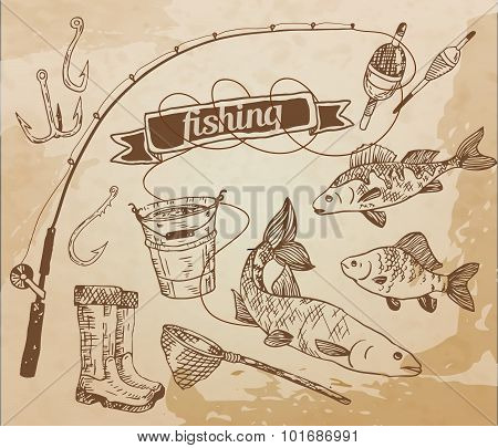 The drawn vector set: fishing. Rod, salmon, perch, bucket, fishing hooks, net, float, gumboots. Vect