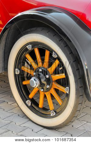 Wheel of the classic vintage oldtimer car