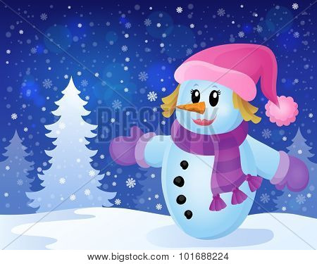 Winter snowwoman topic image 3 - eps10 vector illustration.