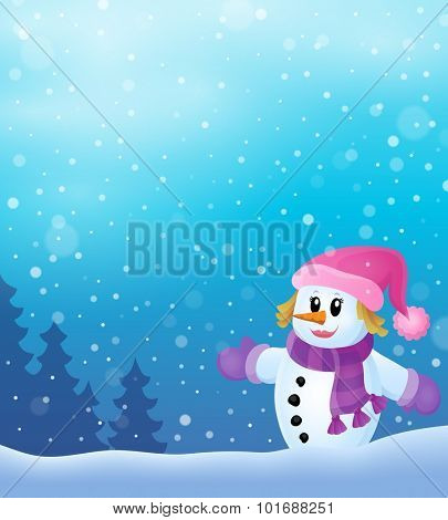 Winter snowwoman topic image 4 - eps10 vector illustration.