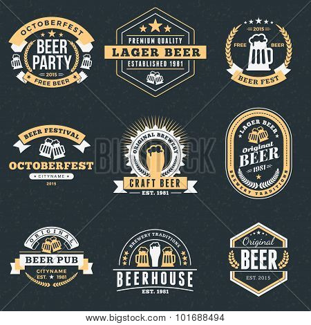 Set Of Retro Vintage Beer Badges, Labels, Logos On Dark Background. Vector Illustration
