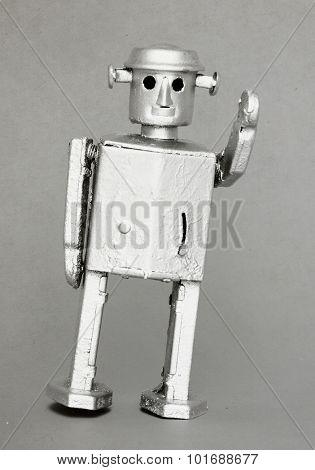 retro robot toy close up