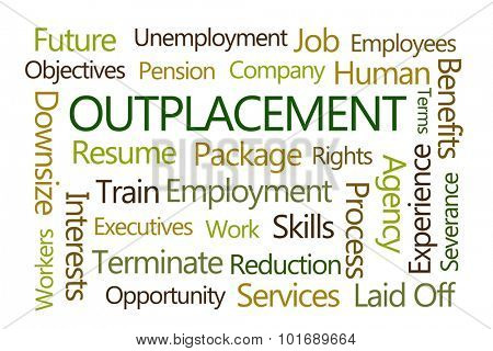 Outplacement Word Cloud on White Background