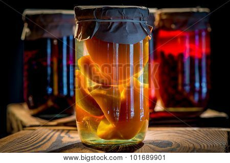 Compote Of Peaches In A Glass Jar Homemade