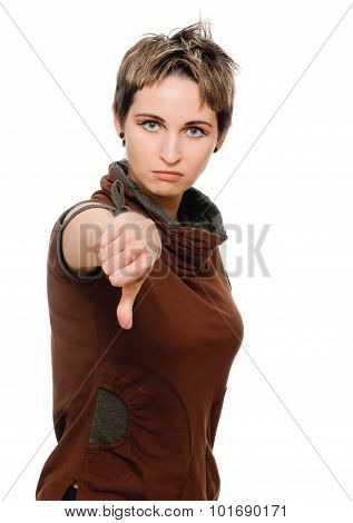 woman thumbs down