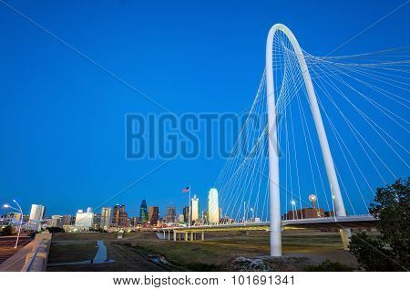 Dallas City Skyline At Twilight