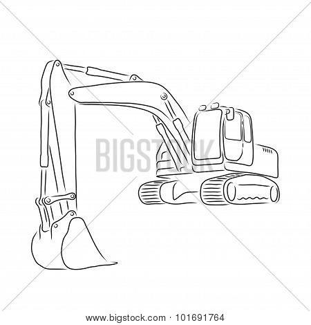 Outline of excavator, vector illustration