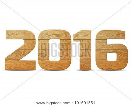 New Year 2016 Of Wood Isolated On White Background