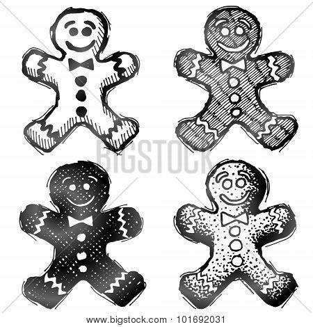 Hand Drawn Gingerbread Man