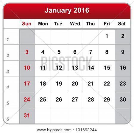 Calendar Sheet January 2016