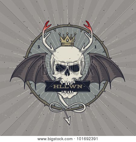 Horned skull with wings - line art Halloween vector illustration