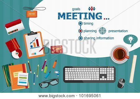 Business Meeting And Flat Design Illustration Concepts For Business Analysis