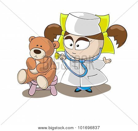 Vector Little Girl Doctor With Bear Toy Isolated On White Background