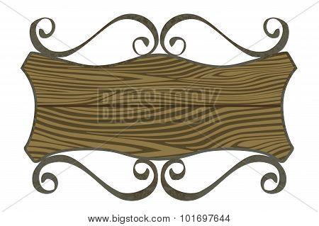 Shield shaped rusty metal signboard
