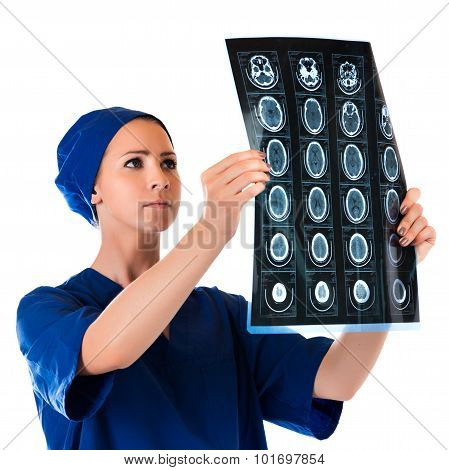 Medical Doctor Analysing X-ray Photography Isolated On White Background