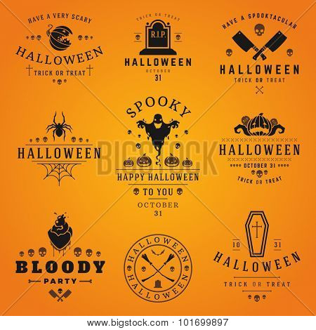 Happy Halloween day labels and badges design collection vector illustration