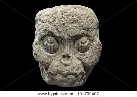Fleshless Mayan Stone Skull