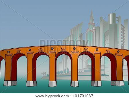 The bridge in the mega city. Poster.