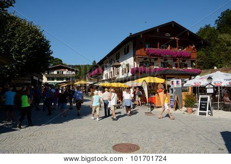 People On Street In Schonau Am Konigssee In Germany