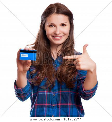Beautiful Friendly Smiling Confident Girl Showing Red Card In Hand, Isolated