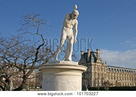 Cain Statue In Tuileries Garden. Paris, France