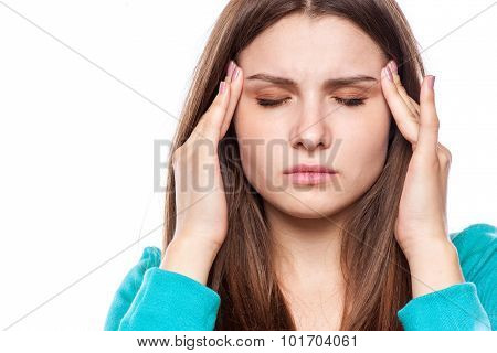 Woman With Headache, Migraine, Stress, Insomnia
