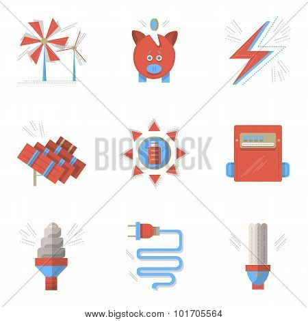 Colored flat vector icons for saving energy.