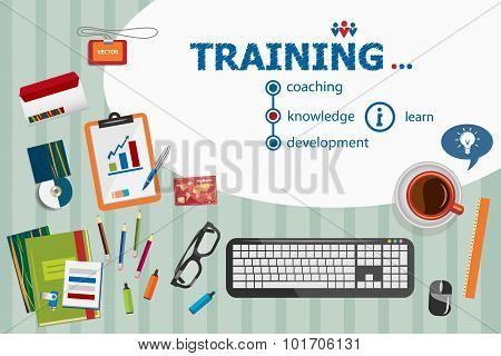 Training Design And Flat Design Illustration Concepts For Business Analysis, Planning