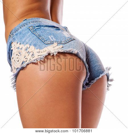 Sexy Woman Body In Jean Shorts. The Model Is Back. Great Ass.