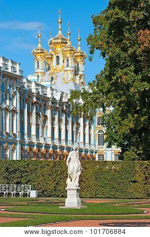 Tsarskoye Selo (Pushkin). Saint-Petersburg. Russia. The Catherine Palace and Park