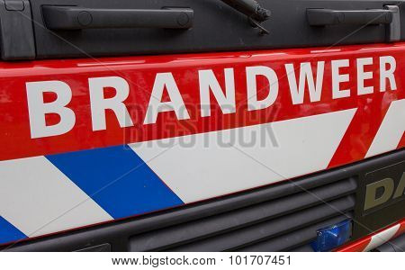 Front Of A Dutch Fire Truck
