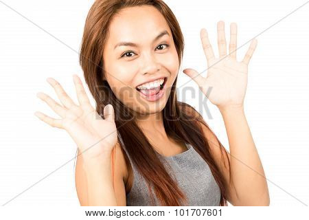 Surprised Happy To See Friend Asian Girl Hands Up