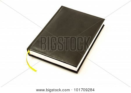 Simple black leather memo pad for note with yellow bookmark