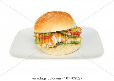 Fish Finger Bap On A Plate