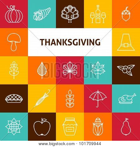 Line Art Thanksgiving Day Holiday Icons Set