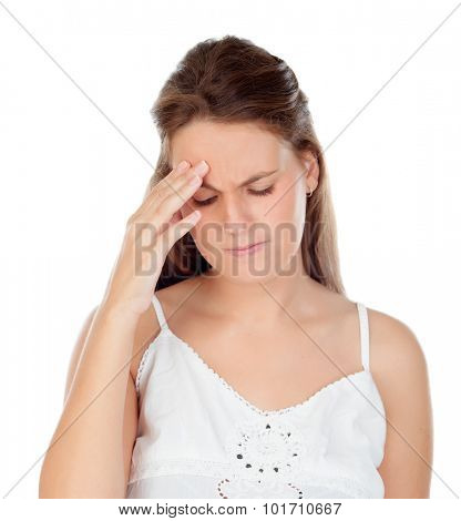 Young woman with headache isolated on a white background