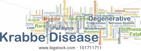 Background concept wordcloud illustration of Krabbe disease