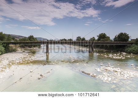 View Of An Old Bridge In Arta City, Epirus Greece.