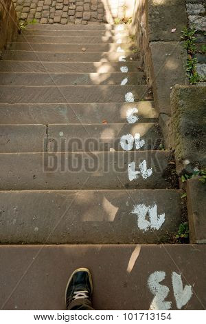 Concrete Steps With Step Numbers